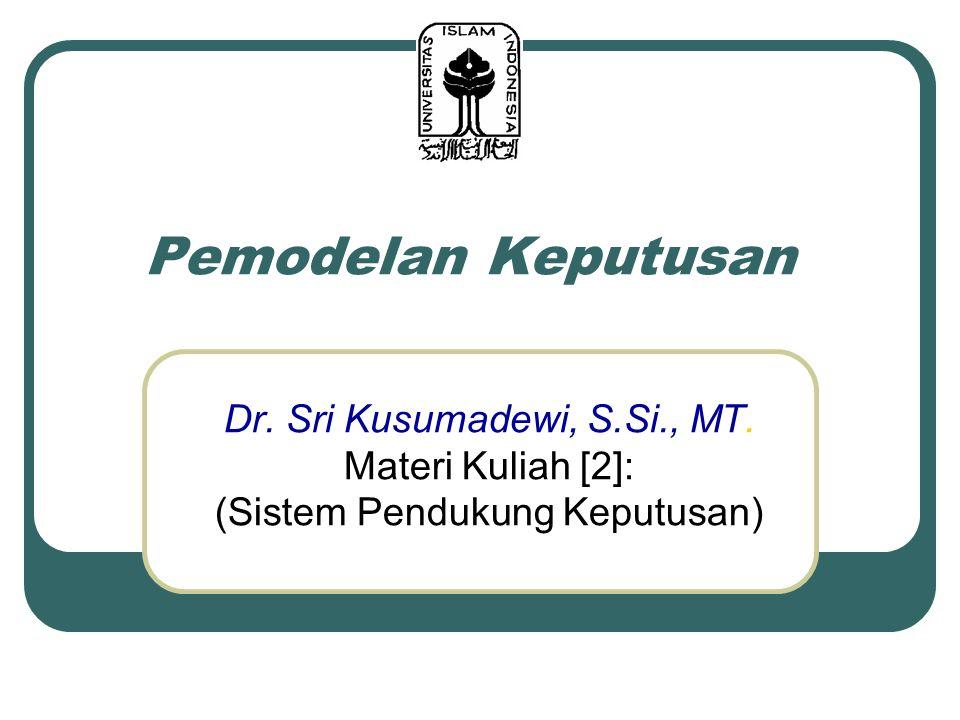 Pemodelan Keputusan Dr. Sri Kusumadewi, S.Si., MT. Materi Kuliah [2]:
